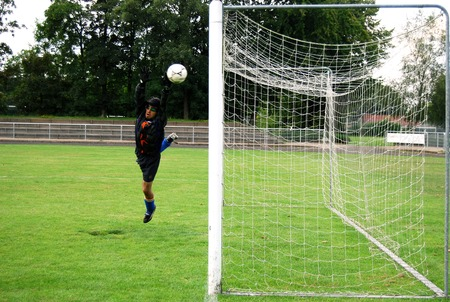 Goal keeper in action Stock Photo - 1648618