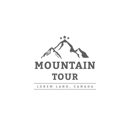 Mountain tour type template in old vintage retro style. Outdoor label and badge. Vector illustration
