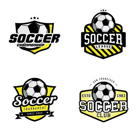 축구 리그 챔피언십 토너먼트 클럽 배지, 레이블, 아이콘 및 디자인 요소의 집합입니다. 축구 테마 티셔츠 그래픽