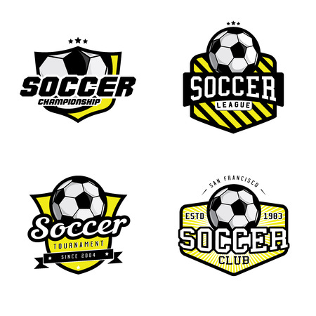 Set of soccer league championship tournament club badges, labels, icons and design elements. Soccer themed t-shirt graphics Ilustracja