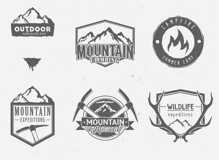 outdoor adventures icons, wildlife badges, mountain exploration labels in vintage style. Deer antlers, mountains, ice-axes, campfire.