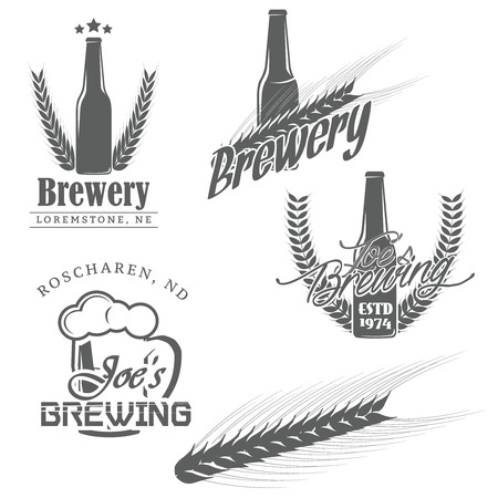 beer bottle: Vintage brewery brewing labels, craft beer emblems, badges, icons. Detailed brewer malt. Vector illustration Illustration