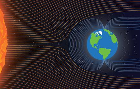 iman: El campo magnético de la Tierra. Proteger a la Tierra de viento solar, ilustración