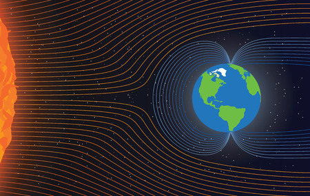 magnetic north: Magnetic field of Earth. Protect the Earth from solar wind, illustration Illustration