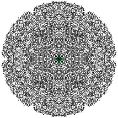 Beautiful circular mandala, illustration  イラスト・ベクター素材