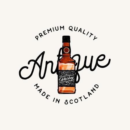 irish pub label design: Premium quality of antique whiskey, made in scotland: badge  label  emblem in vintage style Illustration