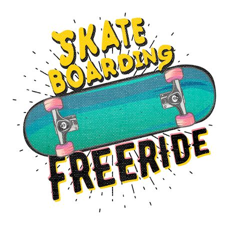 freeride: Skateboarding freeride. typography poster with detailed skateboard. t-shirt print  apparel design, vector illustration