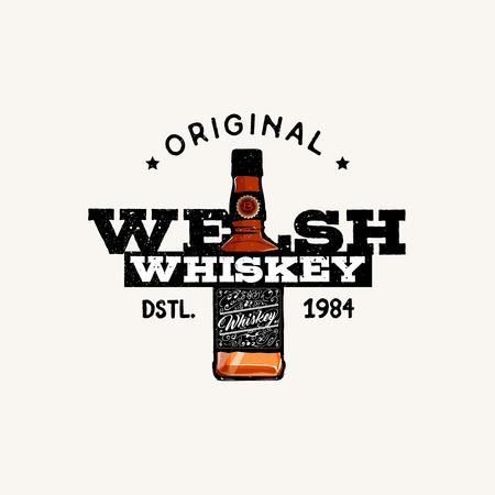 welsh: Original Welsh Whiskey, badge, label, vector illustration Illustration
