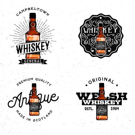 distillery: Whiskey themed, badges, labels, design elements, based on cartoon detailed whiskey bottle.