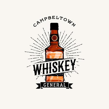 irish pub label design: Whiskey Label with cartoon detailed whiskey bottle