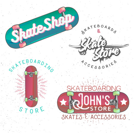themed: Skateboarding themed vintage badges, labels, design elements.