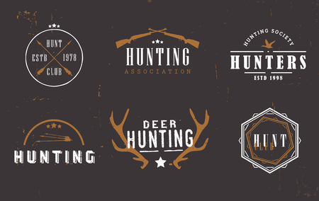 societies: Label for hunting business companies, hunting clubs, hunters associations and societies  on dark background.