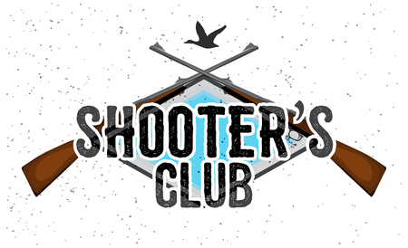 duck silhouette: Shooters club with crossed hunting guns and duck silhouette.