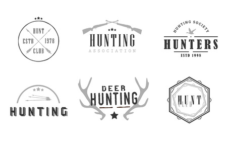 societies: Labels for hunting business companies, hunting clubs, hunters associations and societies Illustration