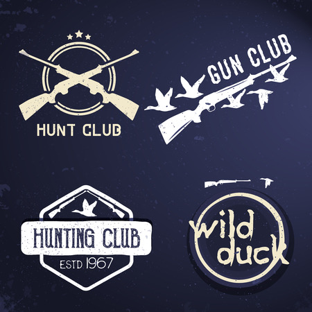 poach: Collection of hunting labels, emblems, badges, design elements.