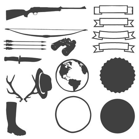 creator: Caza fabricante creador de etiquetas. Diferentes objetos de caza plantillas (cintas, chapas, mapa de la Tierra Vectores