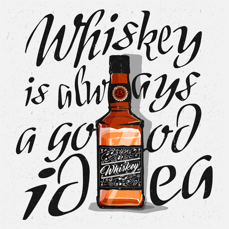 irish pub label design: Whiskey glass bottle in cartoon style and lettering around the bottle. Whiskey is always a good idea typography engaving, vector Illustration