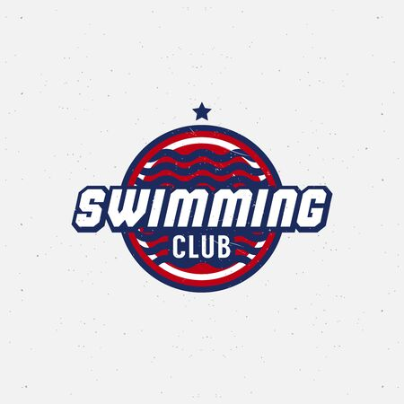 varsity: Swimming sport for competitions, tournaments, clubs, leagues. Vector illustration.