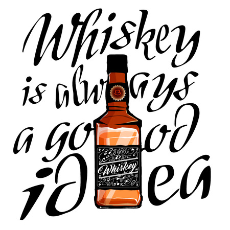 Whiskey glass bottle in cartoon style and lettering around the bottle. Whiskey is always a good idea typography engaving, vector Illustration