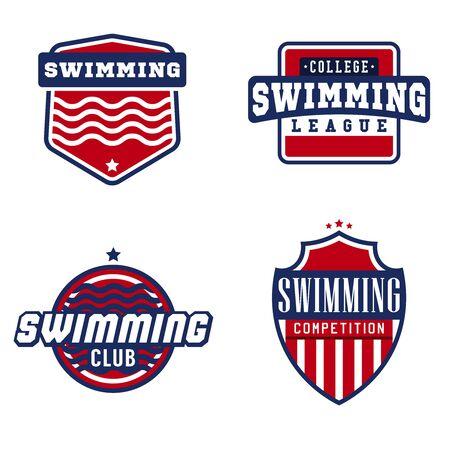 natation: Natación etiquetas para las competiciones deportivas, torneos, clubes, ligas. Ilustración del vector.
