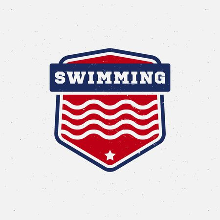 Swimming sport label for competitions, tournaments, clubs, leagues. Vector illustration.
