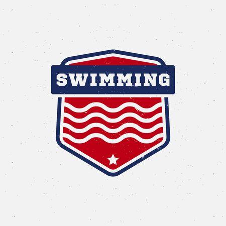 natation: Natación etiqueta de deporte para concursos, torneos, clubes, ligas. Ilustración del vector. Vectores