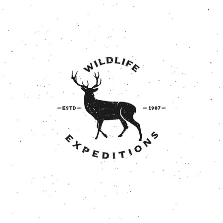 expeditions: Vintage badge of wildlife expeditions. for your events. Deer silhouette with antlers. Typography design, Vector.