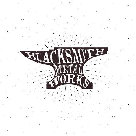shrinking: Blacksmith typography, lettering inside the anvil. Vector illustration