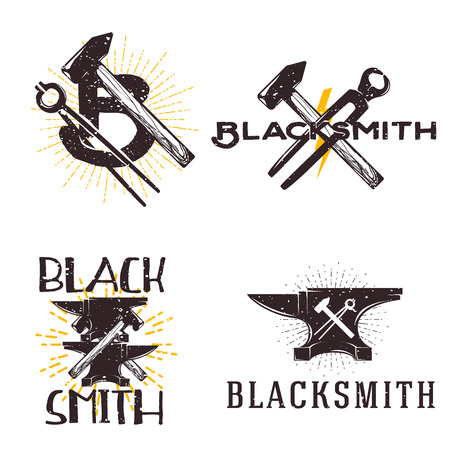 shrinking: set of vector blacksmith related. Blacksmith, metal works badge, design elements, emblems, signs, symbols, labels. Vintage style.