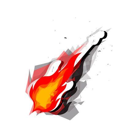 Rock guitar on cartoon fire, burning electric guitar. T-shirt pring with guitar