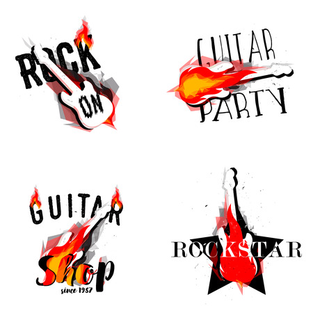 Set of rock music rock burning guitars. Rock on, Guitar party, Guitar Shop, Rockstar labels, badges, signs and design elements.