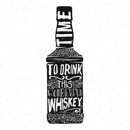 whisky bottle: Whiskey typography design, lettering inside the whisky bottle, vintage retro design Illustration