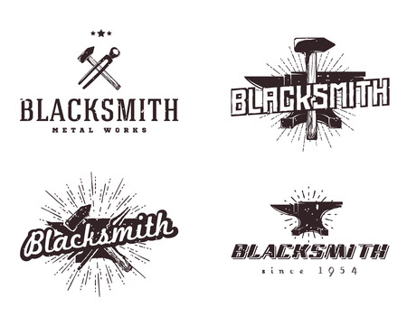 metalworker: Set of blacksmith and metalworks badges, signs, labels, emblems, templates. Vintage style, monochrome colors.