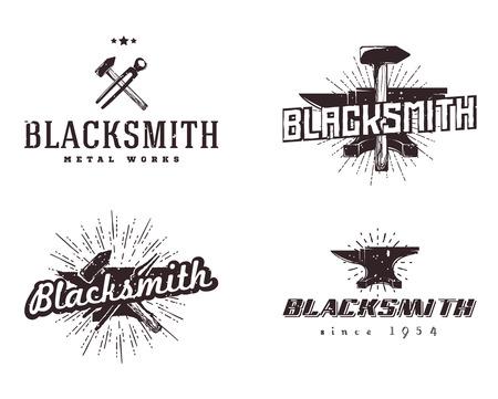 Set of blacksmith and metalworks badges, signs, labels, emblems, templates. Vintage style, monochrome colors.