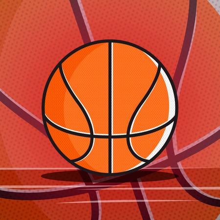 textured cartoon basketball ball, vector.