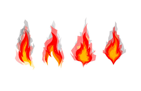 Set of four cartoon fires, bonfires concept. Polygonal shadow on background, angular smoke from fires.