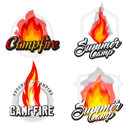 Set of hiking, campfire badges, summer camp labels with cartoon fire. Bonfire inside. Illustration
