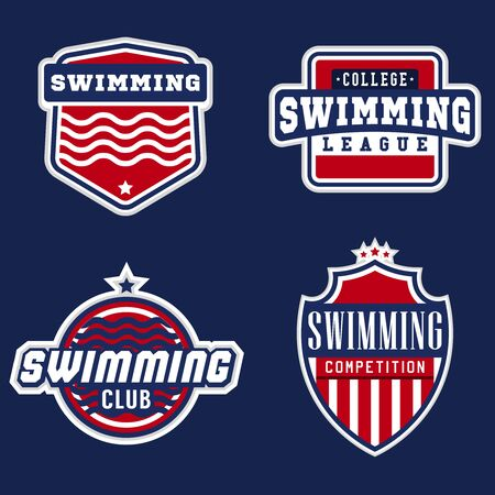 natation: College swimming sport labels for competitions, tournaments, clubs, leagues. Vector illustration. Vectores