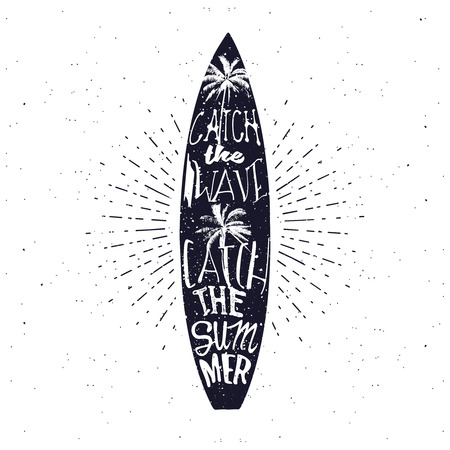 catch: Surfing related summer typography poster, lettering inside the surfboard. Catch the wave, catch the summer.