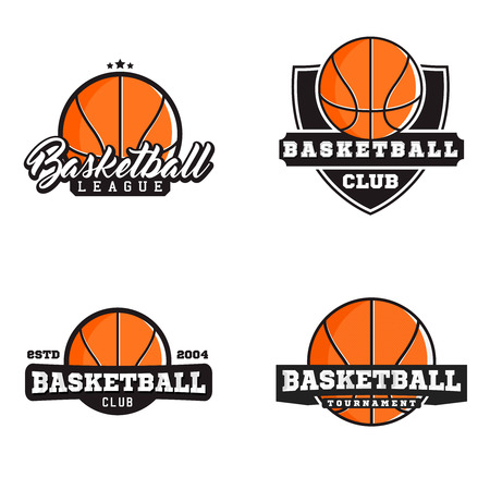 competitions: Basketball sport labels for competitions, tournaments, clubs, leagues. Vector illustration.