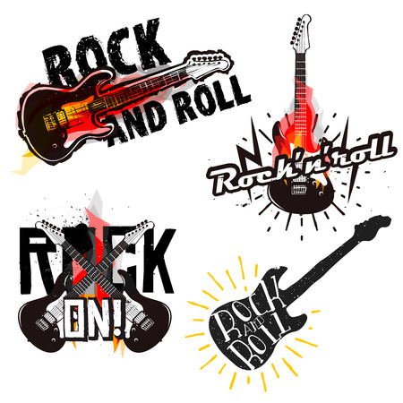 Rock and roll, rock labels. Rocknroll badges, Rock ON! sign. Burning guitar on cartoon fire.