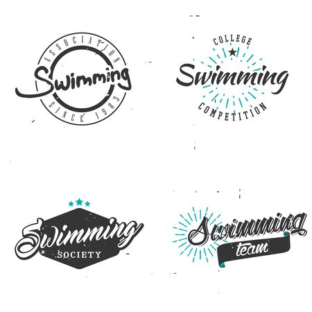 butterfly stroke: Set of swimming in vintage style, swimming badges, lables, emblems, signs, symbols.