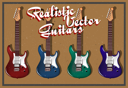 frets: Realistic vector electric guitars Illustration