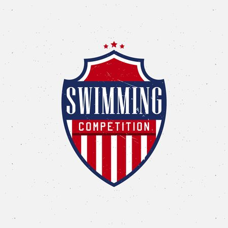 Swimming sport labels for competitions, tournaments, clubs, leagues. Vector illustration.