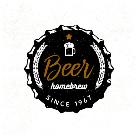 ビールのふたの様式化されたビール バッジ。ベクトル イラスト、タイポグラフィ デザインt シャツ プリントデザインのアパレルプロジェクトの  イラスト・ベクター素材