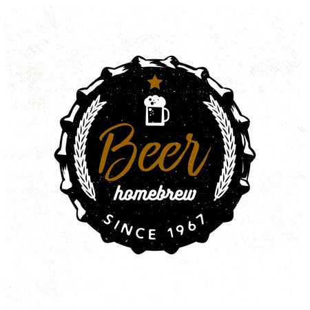 Bier badge gestileerd voor bier deksel. Vectorillustratie, typografieontwerp  t-shirtdruk  kledingsontwerp  embleem voor uw project  merk.