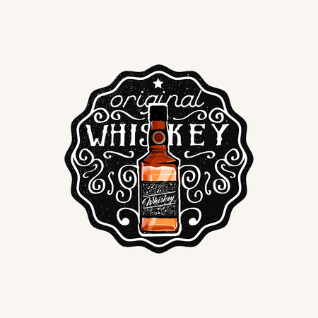 Whiskey label, original Whiskey phrase. Vector illustration.