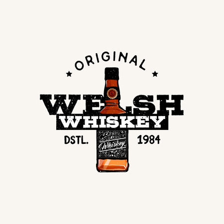 Original Welsh Whiskey logo, badge, label, vector illustration