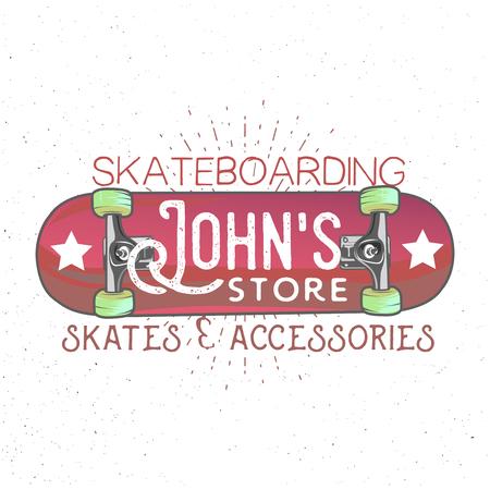 johns store lettering inside high detailed cartoon skateboard with sunburst on background. Skateboarding shop themed logotype, skates & accessories.