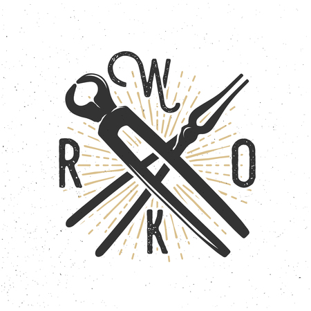 WORK badge with blacksmith tools. Inspirational and motivational banner Illustration